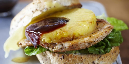 Chicken, cheese and pineapple burgers