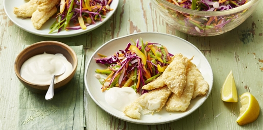 Fish fingers with Rainbow slaw and lemon aioli