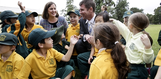 school kids with NSW Premier