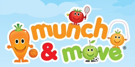 Munch and Move carrot, tomato, orange and apple cartoon characters