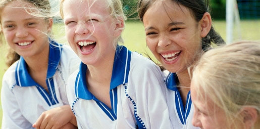sport girls laughing