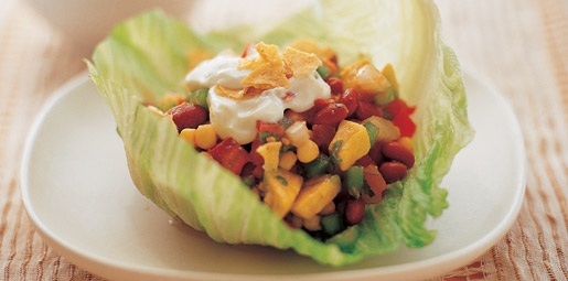 bean and avocado lettuce cups