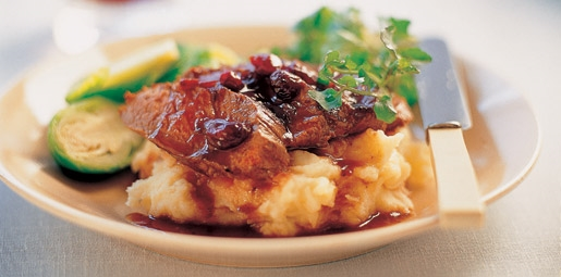 Kangaroo on Mash with Cranberry Glaze