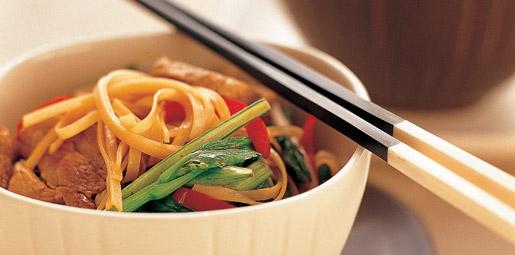 Pork Fillet, Noodle and Sugar Snap Stir Fry