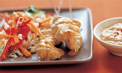 Chicken Satay with Crunchy Cabbage Salad