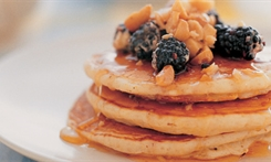 Jumbo Pancakes with Blackberry and Honey