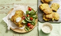 Cauliflower and Pea Fritters with Mint Yoghurt